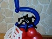 """Zahl """"5"""" mit Spinne und Spinnennetz"""