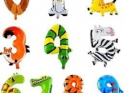 """Folienzahlen """"Tiere"""" mit Helium"""