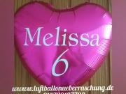 Folienballon mit Aufschrift nach Ihrer Wahl, Melissa